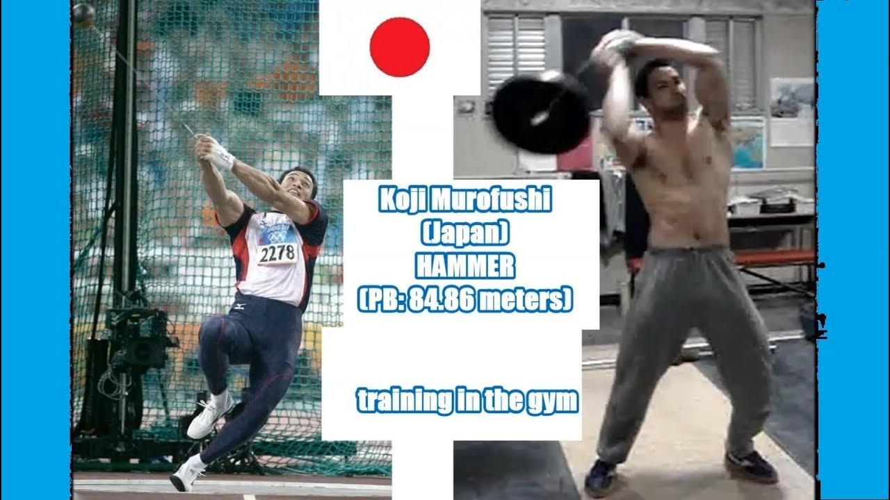 Koji Murofushi (Japan) HAMMER (PB: 84.86 meters) training in the gym